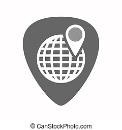 Isolated guitar plectrum with a world globe
