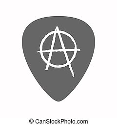 Isolated guitar plectrum with an anarchy sign