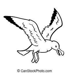 Isolated Gull Cartoon-Vector Hand drawn Illustration