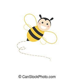 Isolated haapy bee flying on a white background