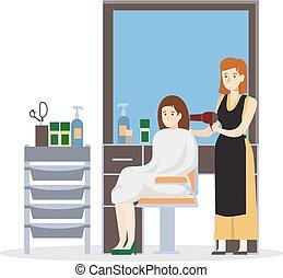 Isolated hairdressing salon.