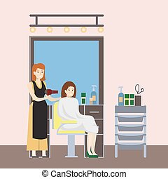 Isolated hairdressing salon.