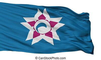 Isolated Hakodate city flag, prefecture Hokkaido, Japan -...