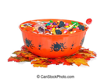 halloween candy in a bowl with fall