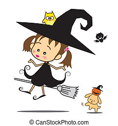 Isolated halloween cartoon cute little baby witch