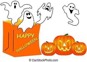 isolated Halloween Ghosts