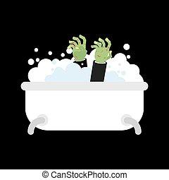 isolated., halloween, morto, bagno, zombie, vettore, verde, illustrazione, washes., uomo