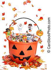 halloween pumpkin bucket with candy