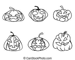 halloween pumpkin sketchy outline icons