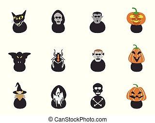 halloween spooky head icons
