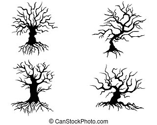 isolated halloween trees from white background