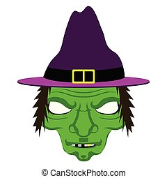 Isolated halloween witch mask