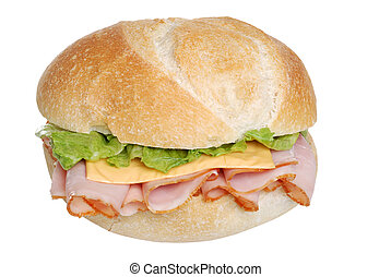 isolated Ham and cheese sandwich on a bun