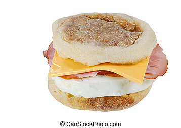 Ham and egg sandwich - isolated Ham and egg sandwich