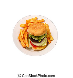 Isolated hamburger and french fries