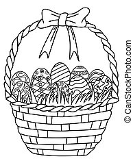 Basket of Easter eggs outline, coloring page