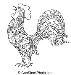Isolated hand drawn decorated rooster, symbol 2017 of year...