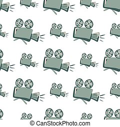 Isolated hand drawn seamless pattern with camera ornament. Grey simple elements on white background.