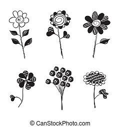 isolated., hand, flowers., vector, getrokken, doodles.