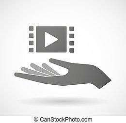Illustration of an isolated hand giving a multimedia sign