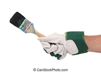 hand held brush with gloves on white background