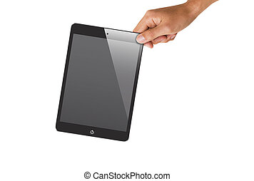 isolated hand holding tablet, to replace screen with images.