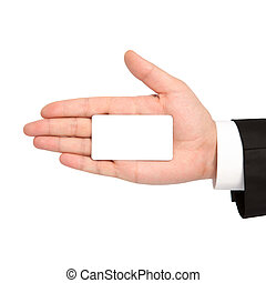 isolated hand of a businessman holding a white business card