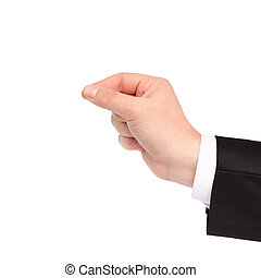 isolated hand of a businessman holding an object