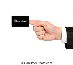 isolated hand of a businessman in a suit holding a black business card
