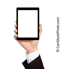 isolated hand of a businessman in a suit holding a computer tablet with isolated screen