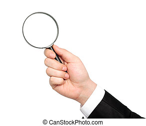 isolated hand of a businessman in suit and tie holding a magnifying glass