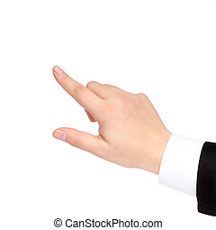 isolated hand of a businessman shows the direction