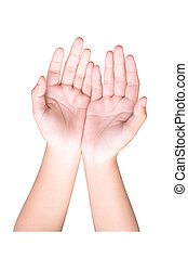 isolated hand over white background