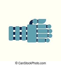 isolated., hand., robot, illustratie, vector, fist, cyborg