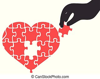 hand took heart jigsaw puzzle piece