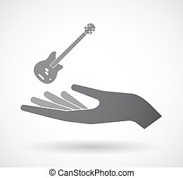Isolated hand with a four string electric bass guitar