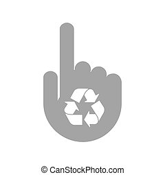 Isolated hand with a recycle sign