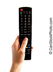 Isolated Hand With TV Remote Control