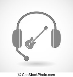 Isolated hands free headphones with  a four string electric bass guitar