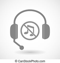 Isolated hands free headphones with  a musical note  in a not allowed signal