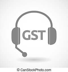 Isolated hands free headphones with  the Goods and Service Tax acronym GST