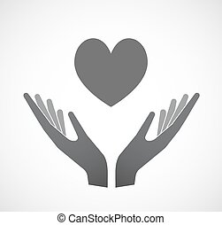 Isolated hands offering  the heart poker playing card sign