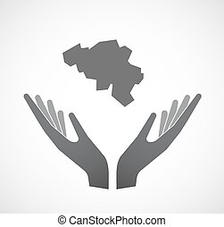 Isolated hands offering the map of Belgium
