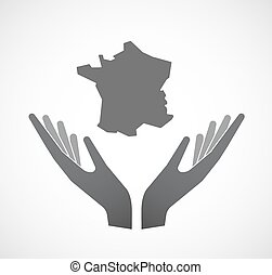 Isolated hands offering the map of France