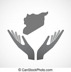 Isolated hands offering the map of Syria