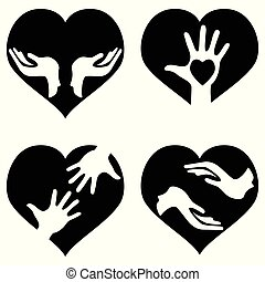 hands with heart icons set