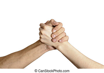 isolated handshake men and women