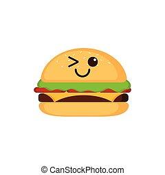 Isolated happy burger emote