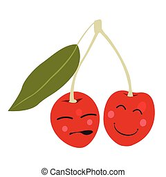 Isolated happy cherry