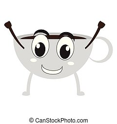 Isolated happy coffee cup emote